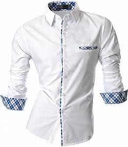 jeansian Herren Freizeit Hemden Slim Long Sleeves Casual Shirts Dress Shirts Tops (USA XXL, Z020_White) von jeansian