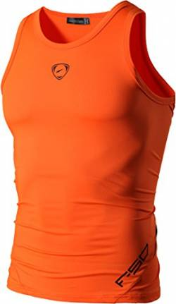 jeansian Herren Sportswear Quick Dry Sleeveless Sports Tank Tops LSL3306 Orange XXL von jeansian