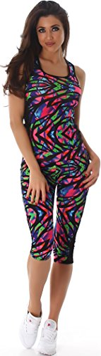 Jela London Damen Sportleggings in Capri-Form (3/4) und Sporttop ALS Fitness-Set | 2teiler Sportshirt und Sporthose Trainingsanzug Sport-Outfit Lauf-Outfit (Bunt 43, L bis XL) von Jela London