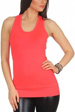 Jela London Damen Basic Longtop Stretch weicher Stoff Träger Tank-Top Racerback Ringerrücken, Apricot Rot 32 34 36 von Jela London