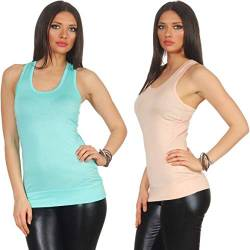 Jela London Damen Basic Longtop Stretch Träger Tank-Top Sommer Sport Racerback, Set Rosa + türkis dünn 34 36 38 von Jela London