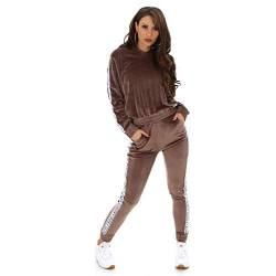 Jela London Damen Trainingsanzug Jogginganzug Stretch Hausanzug Pullover, Velour Calvin Braun, 38-42 (L/XL) von Jela London