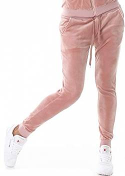 Jela London Damen Velours Samt Nicki Jogginghose Freizeithose Kordel Tunnelzug Rosa 38 40 (L) von Jela London