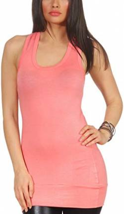 stretchy Basic Longtop Racerback (32-36), Salmon Pink von Jela London