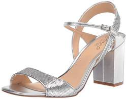 Jewel Badgley Mischka Damen IRMA Sandalen mit Absatz, Silberfarbene Pailletten, 42.5 EU von Jewel Badgley Mischka