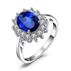 JewelryPalace Prinzessin Diana Kate Middleton Edelstein Smaragd Saphir Ringe, Verlobungsring Eheringe Promise Verlobung Ring Silber 925 Damen, Silberringe Damenring Antragsring Ringe, Damen Schmuck von JewelryPalace
