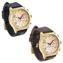 JewelryWe 2pcs Herren Uhren Elegant Leder Band Wasserdicht Datum Kalender Business Casual Analog Quarz Armbanduhr Stoppuhr Multifunktions Sportuhr mit Goldenes Zifferblatt, Schwarz Braun von JewelryWe