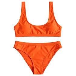 JewelryWe Damen Bikini Set Push Up Gepolstert Bustier Sportliches Bikinis Swimwear Swimsuit Badeanzug Bademode, Orange, L von JewelryWe