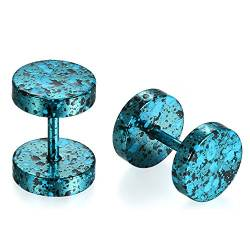 JewelryWe Schmuck 8MM Edelstahl Double Flared Fake Plug Ohrstecker Ohrpiercing Cheater Illusion Tunnel Barbell Stud Ohrringe Camouflage Unisex Blau von JewelryWe