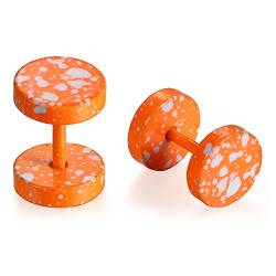 JewelryWe Schmuck 8MM Edelstahl Double Flared Fake Plug Ohrstecker Ohrpiercing Cheater Illusion Tunnel Barbell Stud Ohrringe Camouflage Unisex Orange von JewelryWe