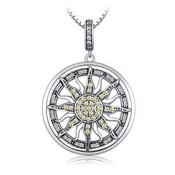 JewelryPalace Zirkonia Large Celestial Sun Circle Anhänger Halskette Mit 18 Zoll Box Kette 925 Sterling Silber von JewelryPalace