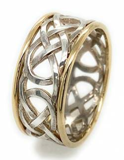 Herren Celtic Knot Band Ring in Two Tone. Irischer handgefertigter Schmuck Made in Ireland (63) von John Weldon Jewellers
