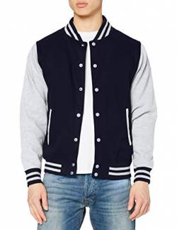 Just Hoods by AWDis Herren Jacke Varsity Jacket, Blau (Oxford Navy/Heather), Large von Just Hoods by AWDis
