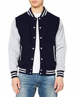 Just Hoods by AWDis Herren Jacke Varsity Jacket, Blau (Oxford Navy/Heather), X-Large von Just Hoods by AWDis