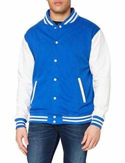 Just Hoods by AWDis Herren Jacke Varsity Jacket, Blau (Royal/White), Medium von Just Hoods by AWDis