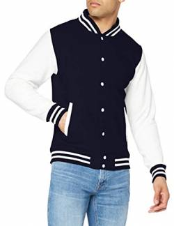 Just Hoods by AWDis Herren Jacke Varsity Jacket, Marineblau / Weiße Ärmel von Just Hoods by AWDis