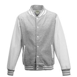 Just Hoods - Unisex College Jacke 'Varsity Jacket' BITTE DIE JH043 BESTELLEN! Gr. - M - Heather Grey/White von Just Hoods