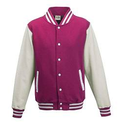 Just Hoods - Unisex College Jacke 'Varsity Jacket' BITTE DIE JH043 BESTELLEN! Gr. - XL - Hot Pink/White von Just Hoods
