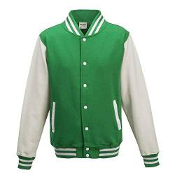 Just Hoods - Unisex College Jacke 'Varsity Jacket' BITTE DIE JH043 BESTELLEN! Gr. - XL - Kelly Green/White von Just Hoods