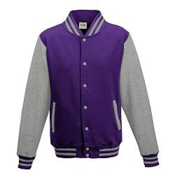 Just Hoods - Unisex College Jacke 'Varsity Jacket' BITTE DIE JH043 BESTELLEN! Gr. - XL - Purple/Heather Grey von Just Hoods