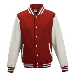Just Hoods - Unisex College Jacke 'Varsity Jacket' BITTE DIE JH043 BESTELLEN! Gr. - XS - Fire Red/White von Just Hoods