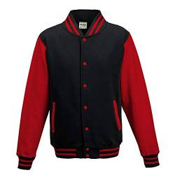 Just Hoods - Unisex College Jacke 'Varsity Jacket' BITTE DIE JH043 BESTELLEN! Gr. - XS - Jet Black/Fire Red von Just Hoods