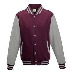 Just Hoods - Unisex College Jacke 'Varsity Jacket' Gr. - 3XL - Burgundy/Heather Grey von Just Hoods