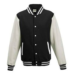 Just Hoods - Unisex College Jacke 'Varsity Jacket' Gr. - 3XL - Jet Black/White von Just Hoods
