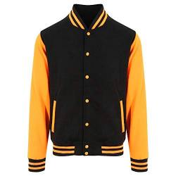 Just Hoods - Unisex College Jacke 'Varsity Jacket' Gr. - S - Jet Black/Orange Crush von Just Hoods
