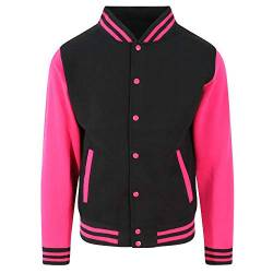 Just Hoods - Unisex College Jacke 'Varsity Jacket' Gr. - XXL - Jet Black/Hot Pink von Just Hoods