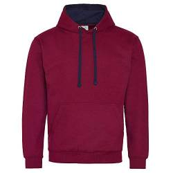 Just Hoods Unisex Varsity Hoodie/Burgundy/Oxford Navy, M von Just Hoods