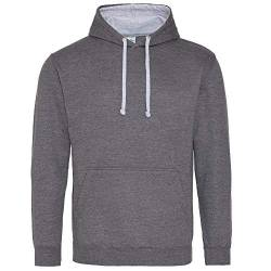 Just Hoods Unisex Varsity Hoodie/Charcoal/Heather Grey, M von Just Hoods