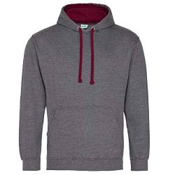 Just Hoods Unisex Varsity Hoodie/Charcoal Heather/Burgundy, S von Just Hoods