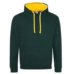 Just Hoods Unisex Varsity Hoodie/Forest Green/Gold, L von Just Hoods