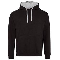 Just Hoods Unisex Varsity Hoodie/Jet Black/Heather Grey, 4XL von Just Hoods