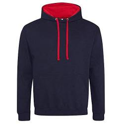 Just Hoods Varsity Kapuzenpullover XXL New French Navy/Fire Red von Just Hoods