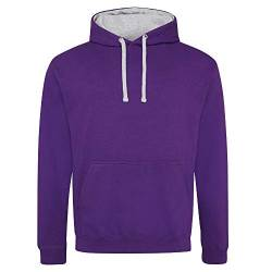Just Hoods Varsity Kapuzenpullover XXL Purple/Heather Grey von Just Hoods