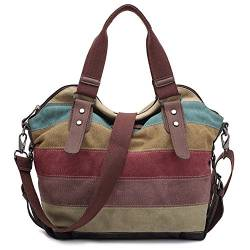 Damen Handtasche,KAUKKO Multi Color Striped Canvas Damen Handtasche Damen Wildleder Schultertasch Umhängetasche Für Frauen und Mädchen von KAUKKO