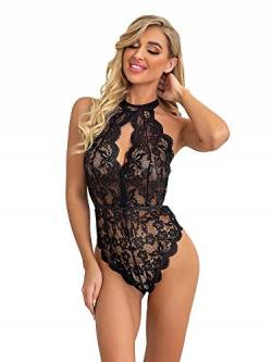 KELITCH Frauen Dessous One Piece Sexy Body Tiefe V Ansatz Backless Halter Teddy Babydoll Nachtwäsche Schwarz XL von KELITCH