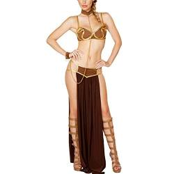 Bikini Cover Up Cosplay Für Star Wars In Halloween Karneval Party Vestidos Anime Kostüme Erwachsene Frauen Sexy Prinzessin Leia Sklaven BH + Rock Schwarz-Braun_L. von KHDFYER