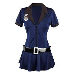 KHDFYER Baby Dolls Dessous Sexy Frauen Sexy Weibliche Polizei Kostüm Cosplay Damen Cop Officer Uinform Halloween Party Polizist Kostüm-Blue_S von KHDFYER