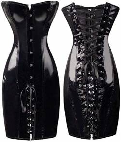 KHDFYER Desouses Sexy Reizwäsche Gothic Sexy Shiny Long Leder Wetlook Off Shoulder Bodycon Kleid PVC Latex Korsett Kleid Party Night Club Vestidos-Black_S von KHDFYER