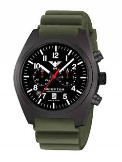 KHS Inceptor Black Steel Chronograph KHS.INCBSC.DO mit Diverband Oliv von KHS