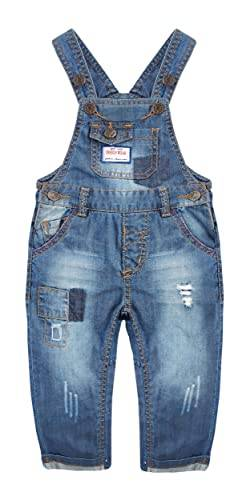 Kidscool Space Baby & Little Boys Easy Windelwechsel-Overall mit Druckknöpfen, Patched Ripped Denim Gr. 86, blau von KIDSCOOL SPACE