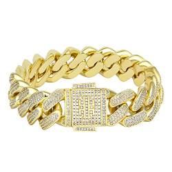 KRKC&CO 18mm Iced Out Cuban Armband Panzerkette Armband 14K Gold beschichtet Cuban Link Armband Iced Out Cuban Chain 5A Zirkonia Steinen Hip Hop Armband Gold Männer Armband Größe 18 20 23cm von KRKC & CO keep real keep champion