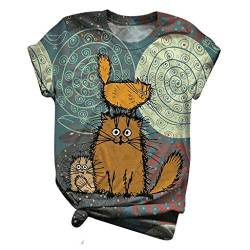 Damen Cartoon Esel Bedrucktes T Shirt Kurzarm Animal Print O Ausschnitt Grafik Casual Tops Tee Damen Gänseblümchen Oberteil Casual Tops Tunika Lose Baumwolle Hemd Leinenbluse Oberteil von KYBA