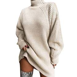 Kanpola Damen Pullover Kleid Sexy Rollkragen Minikleid Strickkleid Herbst Winter Langarm Sweatshirt Dress Elegant Sweatkleid Lässig Kleidung Dress Tops von Kanpola Damen Sweatshirts