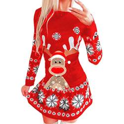 Kanpola Weihnachten Pullover Kleider Damen Sexy Rundhals Sweatshirt Weihnachtskleid Winter Weihnachtsthema Minikleid Sweatkleid Slim Fit Party Shirtkleider von Kanpola Damen Sweatshirts