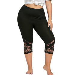 Kanpola Laufhose Damen 3/4 Capri Leggings mit Spitze Yogahose GroßE GrößEn Sport Leggings Tights Blickdichte Elastische Jogginghose High Waist Sporthose von Kanpola Damen Top