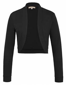 Kate Kasin Damen High Stretchy Long Sleeve Front Open Shrug Mantel für Party Schwarz 823 M von Kate Kasin